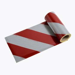 BACS44 - Striped Ribbons 2 Rolls Class B White/Red